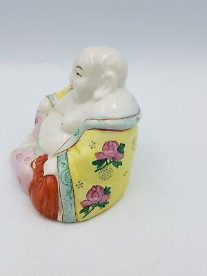 Vintage Chinese Hand Painted Porcelain Medium Size Happy Laughing Sitting Buddha 4