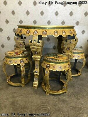 China Copper Bronze Cloisonne Enamel Beauty Woman Pattern Dining Table Stool Set 2