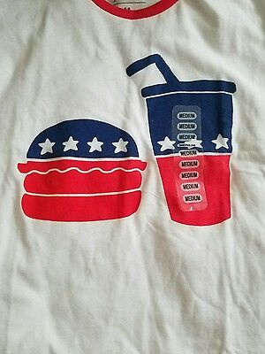 Juniors Mighty Fine Hamburger//Drink Stars T-Shirt White Red Blue New #3500 TFI