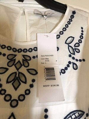 NWT Parker Tiered flutter sleeve Embroidered eyelet cotton white dress size L 6