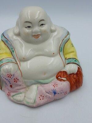 Vintage Chinese Hand Painted Porcelain Medium Size Happy Laughing Sitting Buddha 9