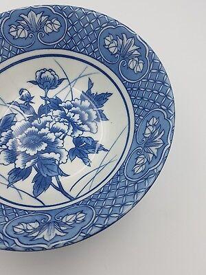 Japanese Fine Porcelain Large Footed Bowl Blue & White Peony Flowers Geometric 4