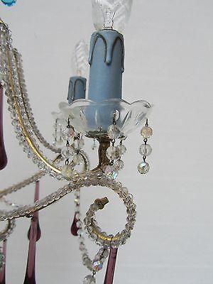 Vintage Italian Crystal Beaded 6-light Chandelier, Purple & Azure drops 8