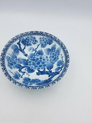 Japanese Fine Porcelain Large Footed Bowl Blue & White Blossom Floral Geometric 3