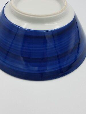 Japanese Fine Porcelain Large Footed Bowl Blue & White Peony Flowers Geometric 7