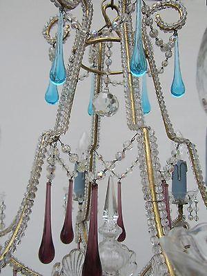 Vintage Italian Crystal Beaded 6-light Chandelier, Purple & Azure drops 6