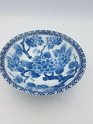 Japanese Fine Porcelain Large Footed Bowl Blue & White Blossom Floral Geometric 8