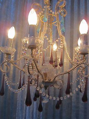 Vintage Italian Crystal Beaded 6-light Chandelier, Purple & Azure drops 11