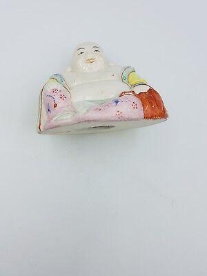 Vintage Chinese Hand Painted Porcelain Medium Size Happy Laughing Sitting Buddha 12