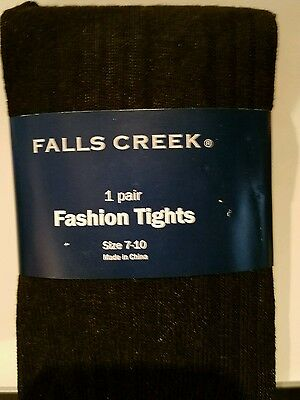 Falls Creek Brand White or Black Ribbed Polyester Spandex Tights 4-6 7-10 12-16