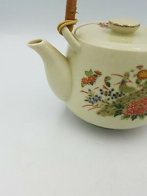 Vintage Japanese Satsuma Porcelain Teapot Floral Exotic Birds Gold Bamboo Handle 3