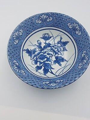 Japanese Fine Porcelain Large Footed Bowl Blue & White Peony Flowers Geometric 2