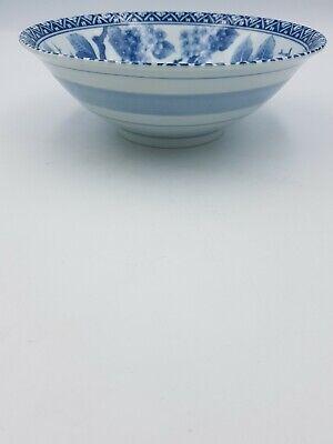 Japanese Fine Porcelain Large Footed Bowl Blue & White Blossom Floral Geometric 7