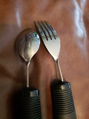 OXO Special Needs Adaptive Rubber Handle Fork & Spoon Set Dining Aids 4