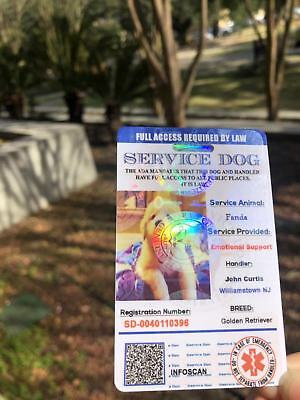 ADA Service Dog Card ID Badge Assistance Animal Badge ESA Holographic Charity 2