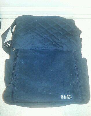 Baby Connection Organizer Diaper Bag Black Messenger Style Change Mat Look