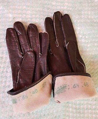 Vintage Retro 'Eleganta' Black Colour Leather Gloves Size 6.5 Small 7
