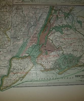 Original 1897 Map of New York Southern Part by The Century Co, 3