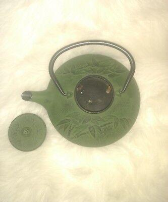 Japanese Green Metal Teapot (Old Vintage Japan Alloy Cast Iron Bamboo Coffee Tea