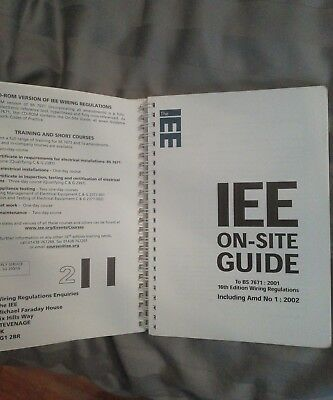 IEE ON-SITE GUIDE -TO BS 7671:2002 blue wiring regulations not 17th edition 2001 2