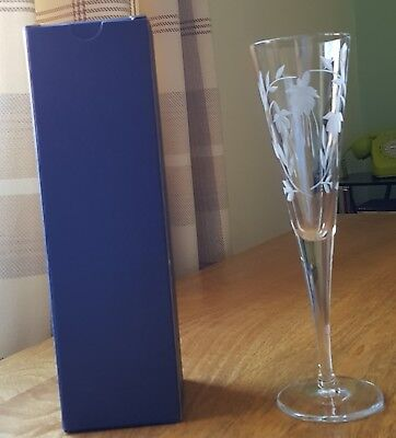 "Cascade Design Flute Champagne Glass 9 1/4"" Tall in Blue Card Box 3"