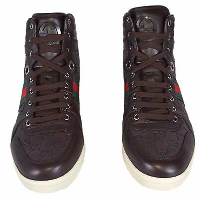 35afa3801 ... NEW Gucci Men's Leather Red Green Web GG Guccissima Coda High Top  Sneakers Shoes 9
