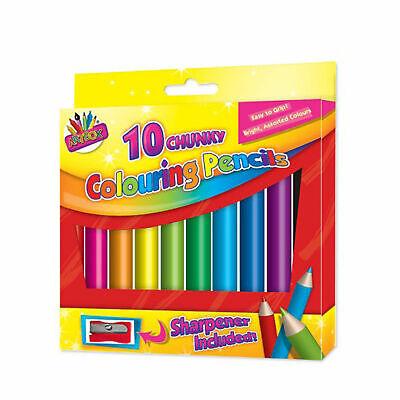 10 x Kid's Chunky Colouring Pencils School Art & Craft Bright Colour & Sharpener 3