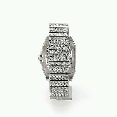 4a449bcdc6a ... Cartier Santos 100XL Watch Fully Iced Out 26 Carat Diamonds Best Price  ASAAR 2