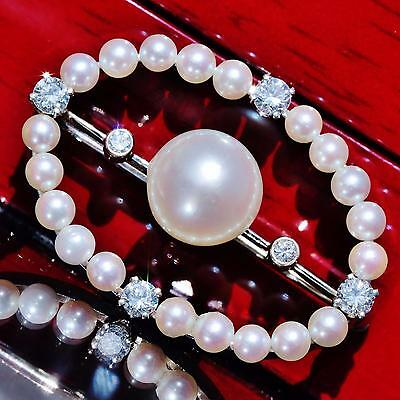 1930's 14k white gold pin brooch 9mm pearl & 0.50ct diamond antique handmad 5.9g 8