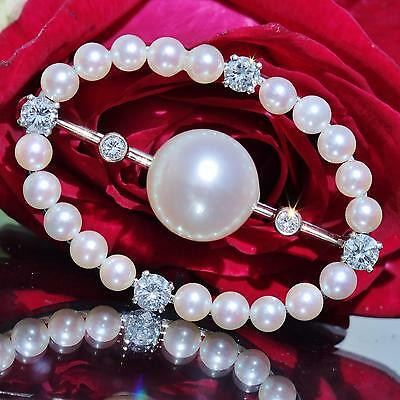 1930's 14k white gold pin brooch 9mm pearl & 0.50ct diamond antique handmad 5.9g 7