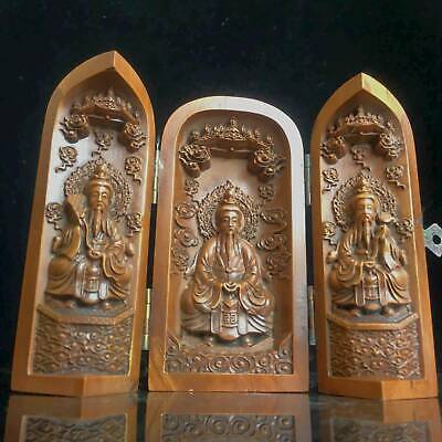 Collectable Old Boxwood Hand-Carved Delicate Noble Buddhist Shrine Stands Statue 6