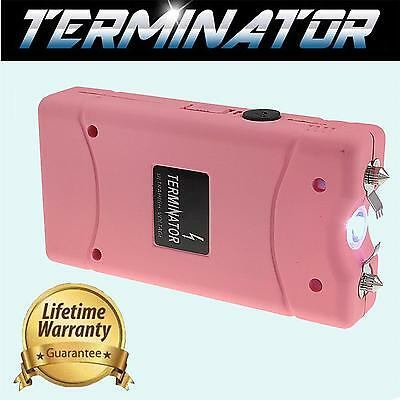 TERMINATOR 60 MV RECHARGEABLE POLICE FlASHLIGHT STUN GUN PINK + TASER CASE