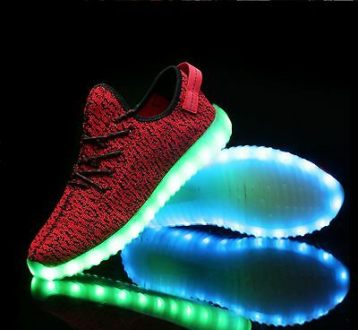 Womengirlboy Usb Led Light Up Sneakers Shoes Luminous Sportswear