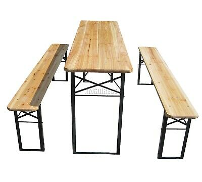 WestWood Outdoor Wooden Folding Beer Table Bench Set Trestle Garden Steel Leg 2