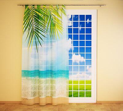 Fotogardine aus Chiffon Ozean Strand Palme Vorhang Fotodruck Gardine auf Maß