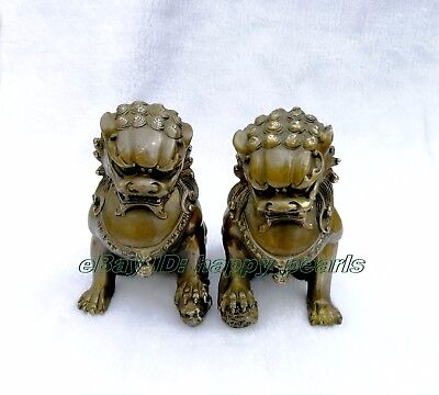 Chinese Brass Copper Animal Feng shui Foo Dog Lion town house Statue pair 14.5cm 3