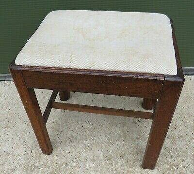 Antique Georgian Oak Footstool Stool with Upholstered Top 2