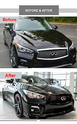 For 2014-17 Infiniti Q50 High Gloss Black Out Front Hood Upper Grill Replacement 5