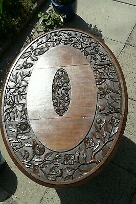 Antique Gateleg Oak Table  Drop Leave Table With Chinese  carved Top☆Very Rare 4