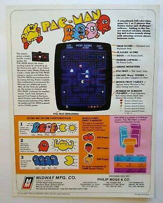 Midway Super Pac-Man Arcade FLYER 1982 Original NOS Video Game Art Print Sheet
