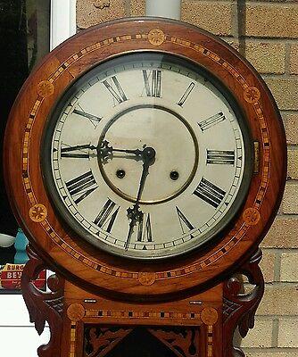 Antique American tunbridgeware inlaid superior 8 day wall clock ornate walnut? 3