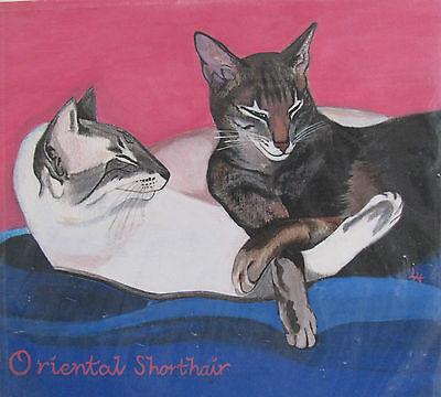 "C305   Original Acrylic Painting By Ljh  ""Bosco""  Cat Kitten 10"