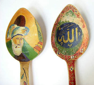 Vintage 1970's Turkey Handpainted Wood Spoons Signed S. Tirayki Konya 2