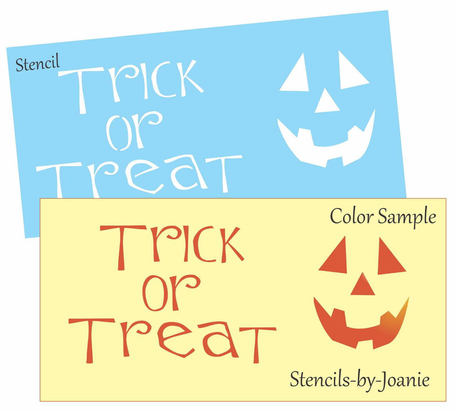 Joanie Fall Stencil Trick Treat Star Whimsey Craft Halloween Kid Signs U Paint