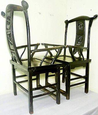 Antique Chinese High Back Arm Chairs (2721)(Pair), Circa 1800-1849 11
