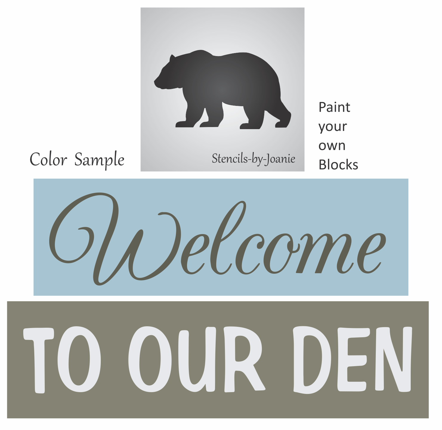 Stencil Welcome to Woods Bear Oak Leaf Rustic Country Mountain Cabin Art Sign