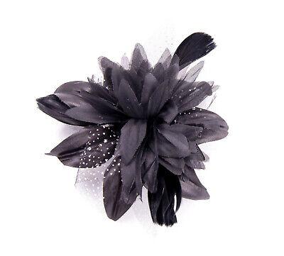 Black Feather Comb Fascinator Wedding Races Proms Bridal Hair Accessory 3 2
