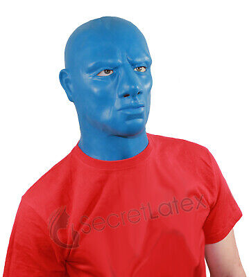 Blue Latex Hood Thick Heavy Rubber Mask Male Masculine Blue Man Anatomical Male 2