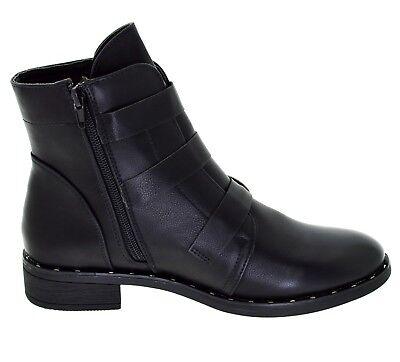 release date e0280 093e5 STIVALETTO NERO DONNA basso tronchetti con fibbie scarpe Boot basse  borchiate
