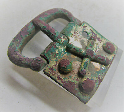 Intact Byzantine Crusaders Gold Gilded Buckle With Cross Motif Rare 2
